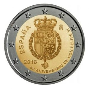 Muntenhanden Drievliet Spanje Felipe 2018 2 euromunt